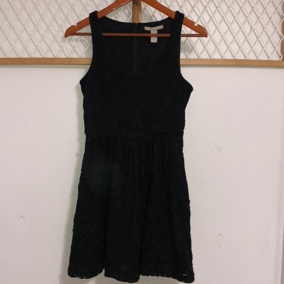 BANANA REPUBLIC Women's Flower Lace Black Dress